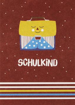 """Postkarte Ranzen, rot - """"Schulkind"""""""