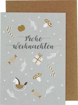 Klappkarte Zuckerstange/Schaukelpferd, hellgrau - Frohe Weihnachten
