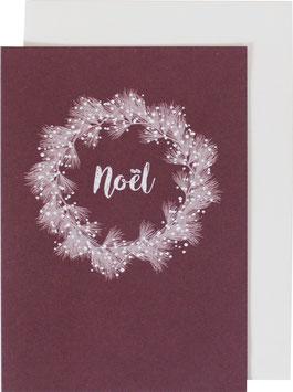 Klappkarte Weihnachtskranz, aubergine - Noel