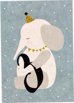 """Postkarte Elefant - """"3"""""""