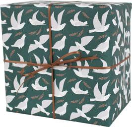 Geschenkpapier Tauben, meeresgrün/weiss (3 Bogen)