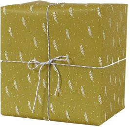 Geschenkpapier Blätterzweige, senf (3 Bogen)