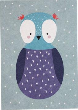 Postkarte Eule lila/blau (ohne Text)