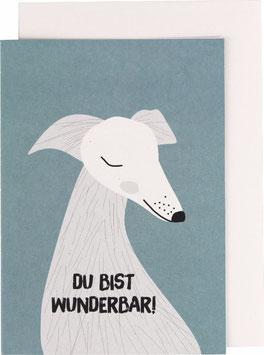 """Klappkarte Hund - """"Du bist wunderbar"""""""