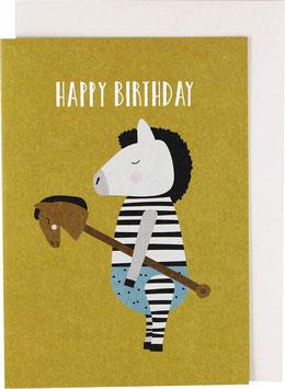 "Klappkarte Zebra mit Steckenpferd - ""Happy Birthday"""