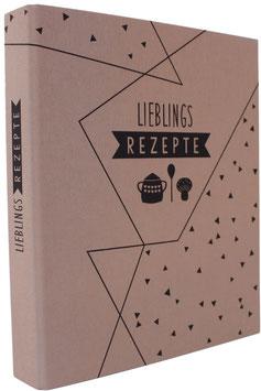 """Leinen-Ordner """"Lieblingsrezepte"""", A4 mit Register, blassbraun"""
