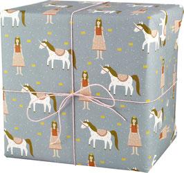Geschenkpapier Prinzessin mit Einhorn (3 Bogen)