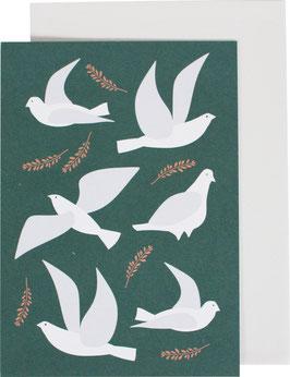 Klappkarte Tauben, meeresgrün (ohne Text)