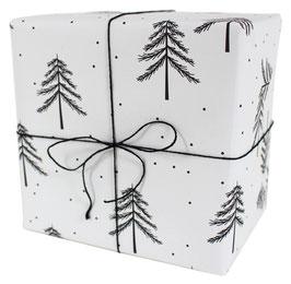 Geschenkpapier weiss mit schwarzen Einzeltannen und Pünktchen (3 Bogen)
