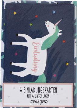 Einladungskarten-Set Einhorn  (6 Karten)