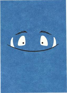 Postkarte Monster, blau