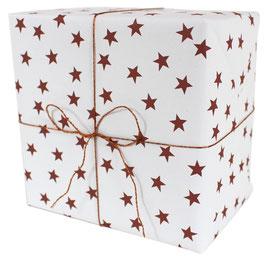 Geschenkpapier mit rostfarbenen Sternen,, weiss  (3 Bogen)
