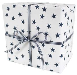 Geschenkpapier mit blauen Sternen, weiss (3 Bogen)