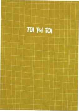 "Postkarte Fäden, senf/weiss - ""Toi Toi Toi"""