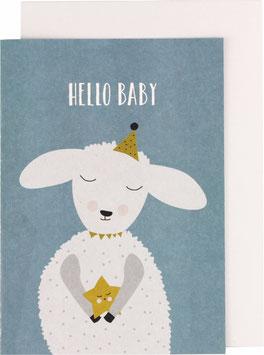 "Klappkarte Lamm, blau - ""Hello Baby"""