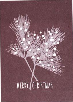 Postkarte Zweig, rot - Merry Christmas