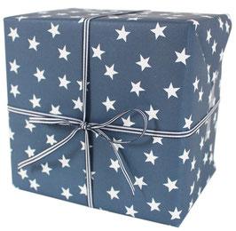 Geschenkpapier mit weissen Sternen, blau  (3 Bogen)