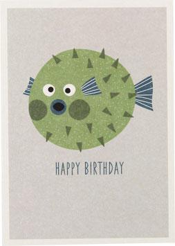 """Postkarte Kugelfisch, grün - """"Happy Birthday"""""""