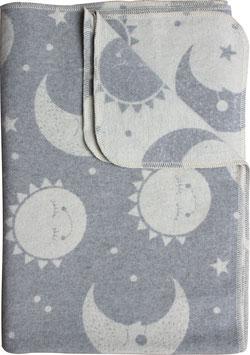 Flanelldecke Sonne/Mond, grau/altweiss (100x140 cm)