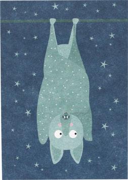 Postkarte Fledermaus, mint/blau (ohne Text)