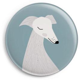 Magnet Hund grau mit Spitzschnauze (32 mm)