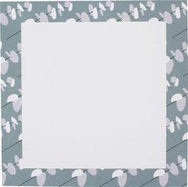 Block Blütenblätter, blau/grau/weiss,  14,8 x 14,8 cm