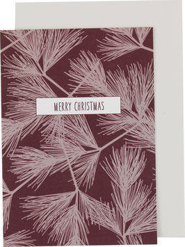 """Klappkarte Tannenzweige, weiss/dunkelrot - """"Merry Christmas"""""""