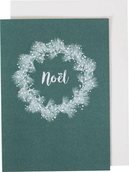 Klappkarte Weihnachtskranz, grün - Noel