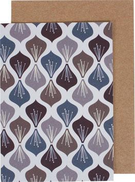 Klappkarte Blüten, aubergine/blau/violett (ohne Text)