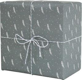 Geschenkpapier Blätterzweige, blaugrau (3 Bogen)
