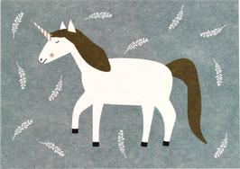 Postkarte Einhorn und Blätterzweige, blaugrau
