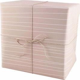 Geschenkpapier Streifen, rosa  (3 Bogen)