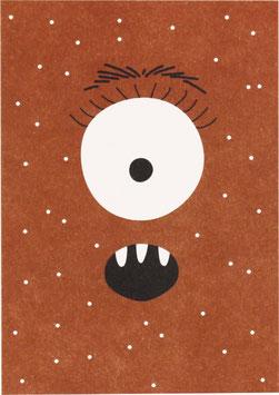Postkarte Monster rot mit Punkten