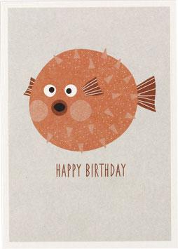 """Postkarte Kugelfisch, lachs mit weißem Hintergrund - """"Happy Birthday"""""""