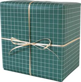 Geschenkpapier kariert, grün/weiss (3 Bogen)