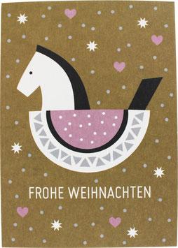Postkarte Schaukelpferd, ocker - Frohe Weihnachten