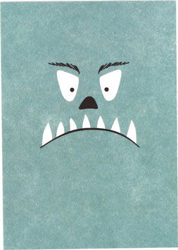 Postkarte Monster, hellblau