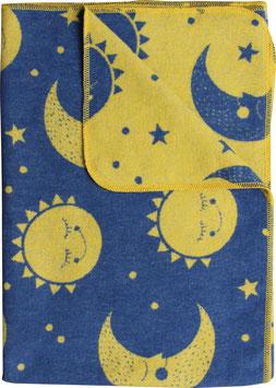 Flanelldecke Sonne/Mond, marine-gelb (100x140 cm)