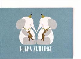 "Klappkarte Elefantenbabies, blau - ""Hurra Zwillinge"""