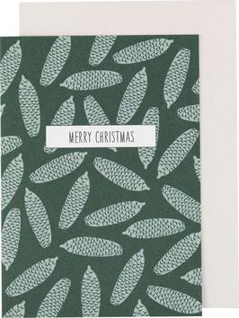 Klappkarte Tannenzapfen, dunkelgrün - Merry Christmas