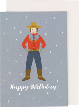 Klappkarte Cowboy, blau - Happy Birthday