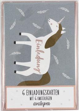 Einladungskarten-Set Einhorn, helblau (6 Karten)