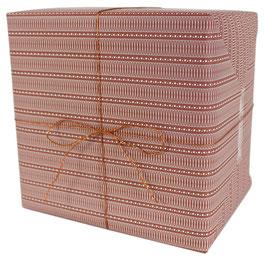 Geschenkpapier weisse X-Schleifen und Pünktchen, rost (3 Bogen)