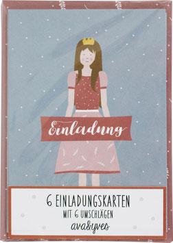 Einladungskarten-Set Prinzessin  (6 Karten)