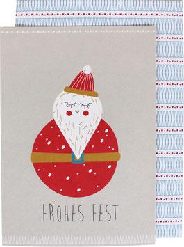 Klappkarte Weihnachtsmann - Frohes Fest