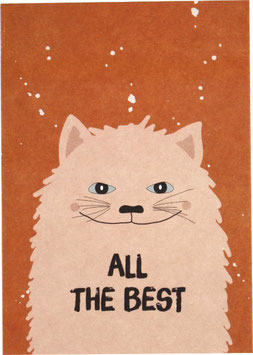 "Postkarte Kater, rose - ""All the Best"""