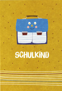 """Postkarte Ranzen, gelb - """"Schulkind"""""""