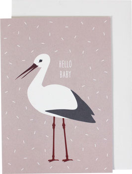 "Klappkarte Storch, rosa - ""Hello Baby"""