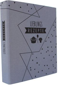 "Leinen-Ordner ""Lieblingsrezepte"", A4 mit Register, intensives blaugrau"