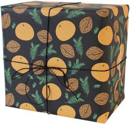 Geschenkpapier Mandarinen, schwarz (3 Bogen)